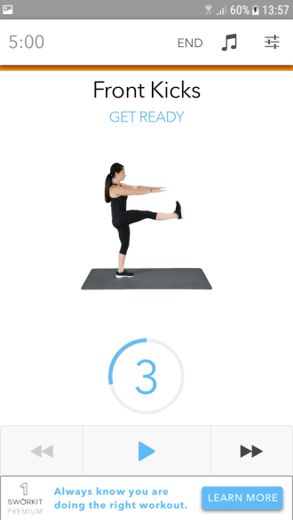 Fitness-App Sworkit- gutes Guiding durch das Workout