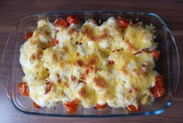 Goldbraun überbacken geht auch mit veganem Käse - veganer Blumenkohlauflauf
