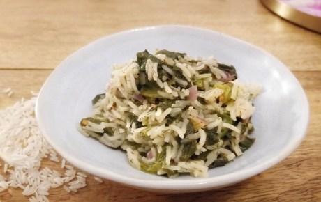 Veganer Dill-Spinat-Reis mit Zitrone