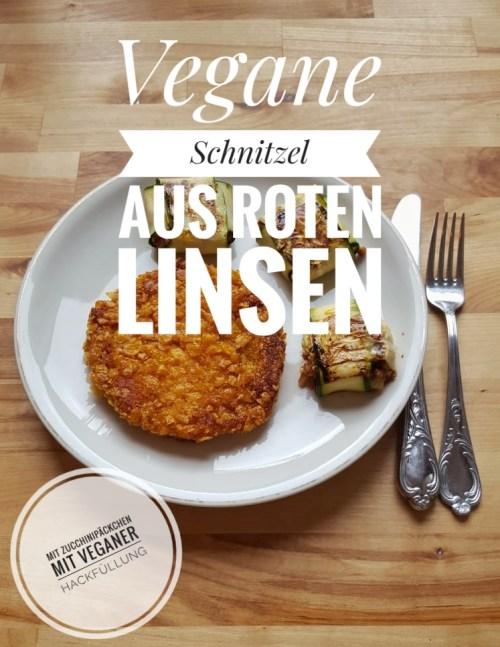 Vegane Linsenschnitzel mit veganen Zucchini-Päckchen