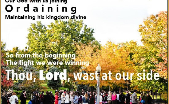 Prayer of Thanksgiving Beside us to guide us our God with us joining. Ordaining, maintaining His Kingdom divine. So from the beginning, the fight we were winning. Thou Lord, wast on our side, all glory be thine.