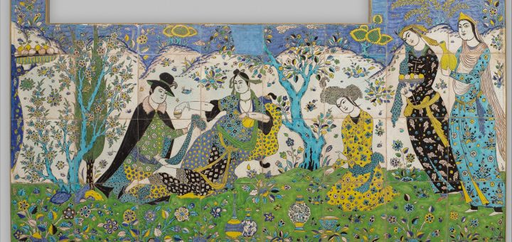 Tiles in blues, greens, yellows and white. At the center of this scene, a lady leans on a bolster pillow and languidly holds out a filled cup. Making somewhat immodest eye contact with the viewer, she displays burn marks, associated with mystics and lovers, on her lower arms. A male figure in European dress and hat, perhaps a merchant, kneels before her. The other figures offer refreshments and conversation.