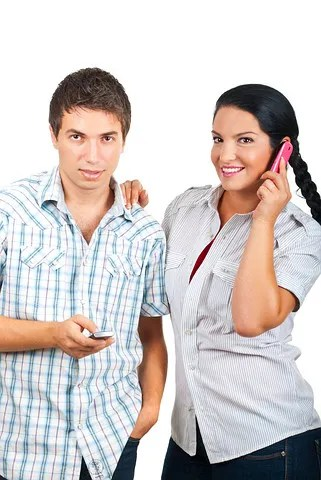 Couple with cell phones © Gabriel Blaj | Dreamstime.com