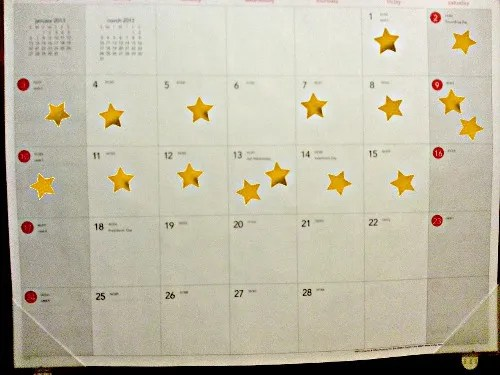 Calendar with stars © Paul H. Byerly