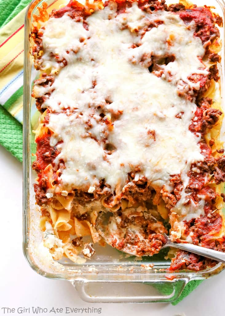 Faux Lasagna - lasagna without all of the work. Great for making ahead of time and freezing. www.the-girl-who-ate-everything.com