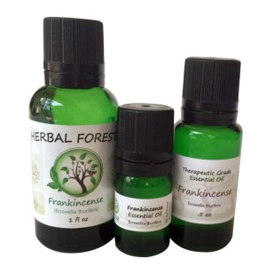 image of Herbal Forest frankincense essential oil 1 oz, .5 oz and .17 oz