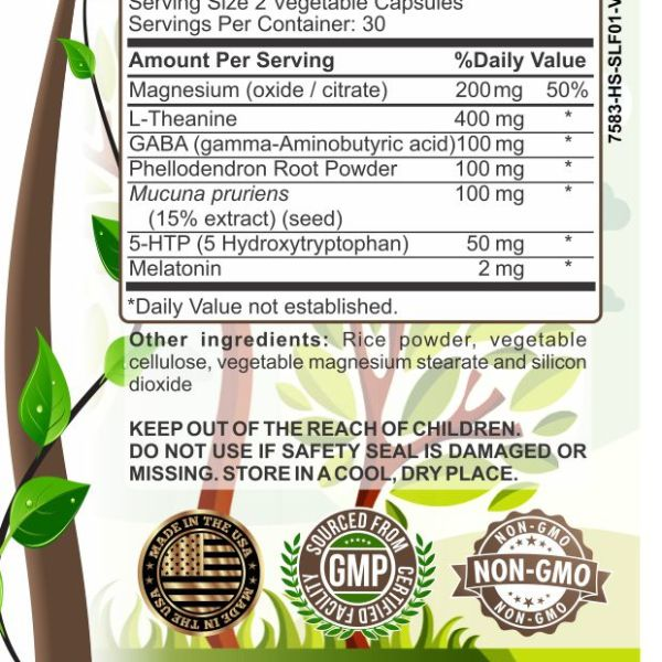 image of herbal forest natural sleep support ingredients.