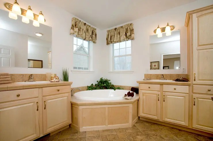 Modular Home Bathroom with Soaker Tub and Maple Cabinets ... on Bathroom Ideas With Maple Cabinets  id=65149