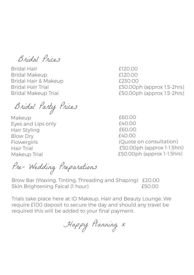 bridal price list web - id makeup, hair & beauty lounge