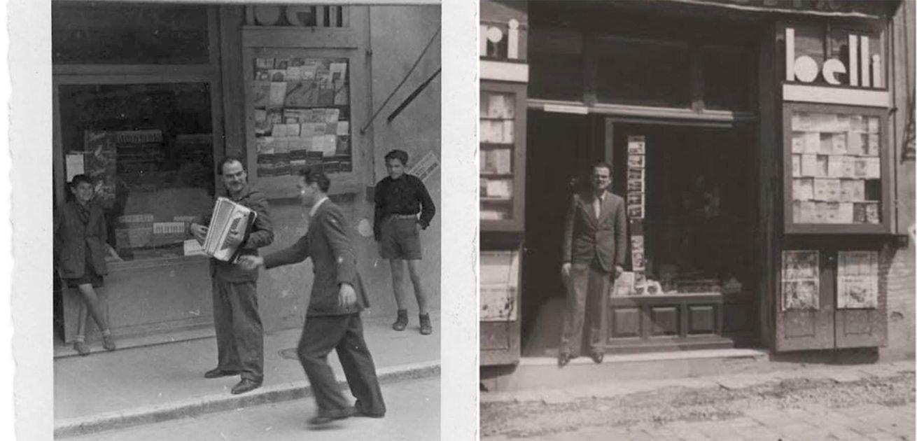 Libreria Paci: Giuseppe Paci davanti alla Libreria in Piazza Matteotti