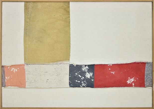 Nuvolo, Senza titolo, 1960, tela dipinta e cucita, 70x100, Collezione Privata