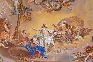 Cristo in cielo davanti al Padre, particolare del cupolone del duomo di Città di Castello
