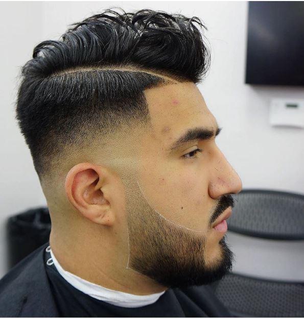 bald fade+hard part+beard