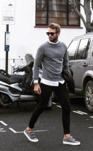 γκρι πουλόβερ άσπρο πουκάμισο μαύρο παντελόνι