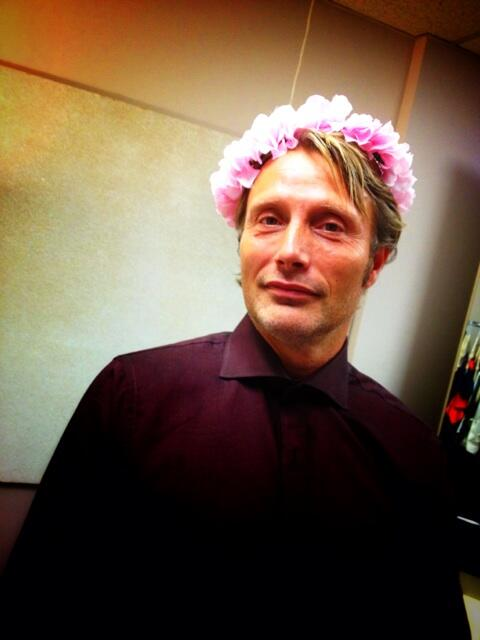 Mads Mikkelson in a floral crown