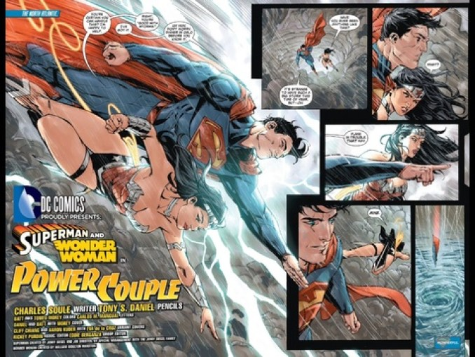 Superman and Wonder Woman flying in the clouds