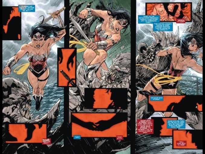 Red and black figure work in Superman/Wonder Woman #1