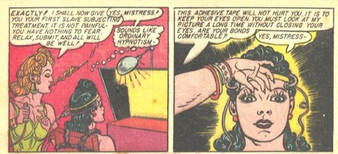 The baroness hypnotises Wonder Woman