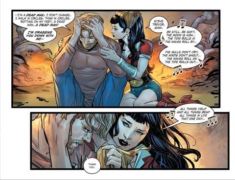 Wonder Woman sings to Steve Trevor