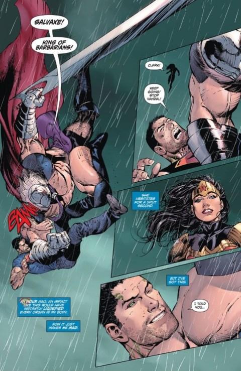 Superman winks at Wonder Woman