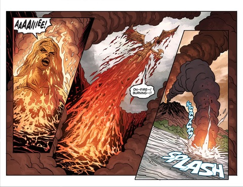 Clayface ends up in a volcano
