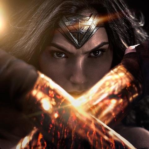 Wonder Woman with glowing bracelets