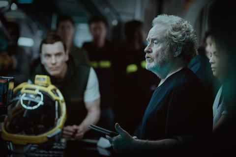Michael Fassbender in Alien: Covenant (with Ridley Scott)