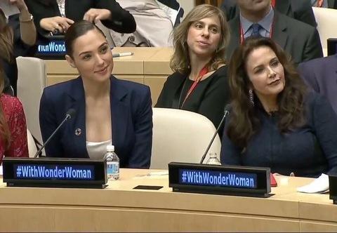 Lynda Carter and Gal Gadot at the UN
