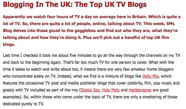 Social Media Library Top UK TV Blogs