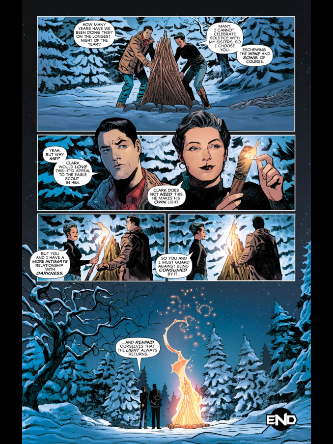 Bruce and Diana light a fire together on the Winter Solstice