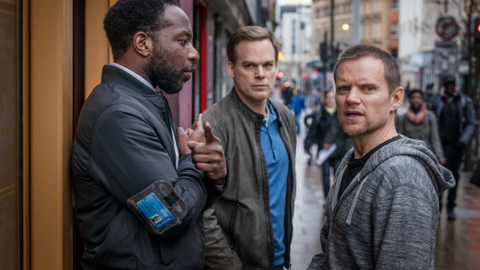 Gabriel Paul, Michael C Hall and Marc Warren in Safe. Photo © Ben Blackall