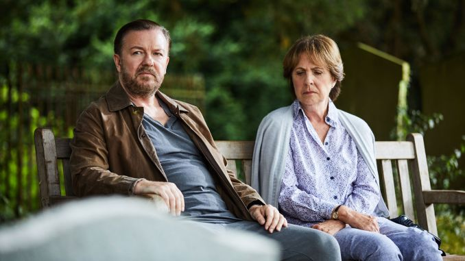 Penelope Wilton and Ricky Gervais in After Life