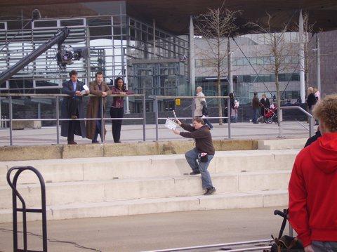 Tennant, Barrowman and Agyeman outside the Millennium Centre in Cardiff