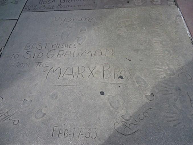 The Marx Brothers' handprints
