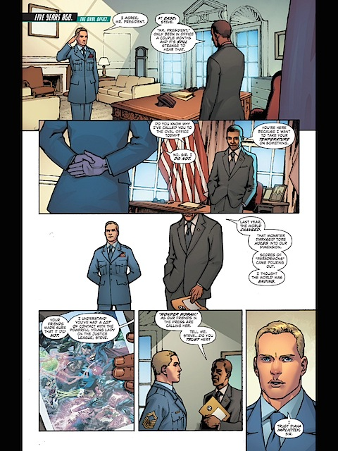 The President gives Steve Trevor a job