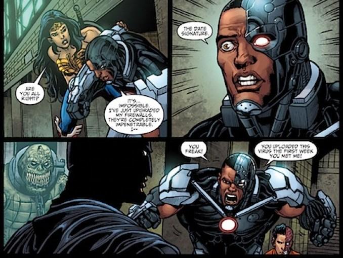 Cyborg is annoyed with Batman