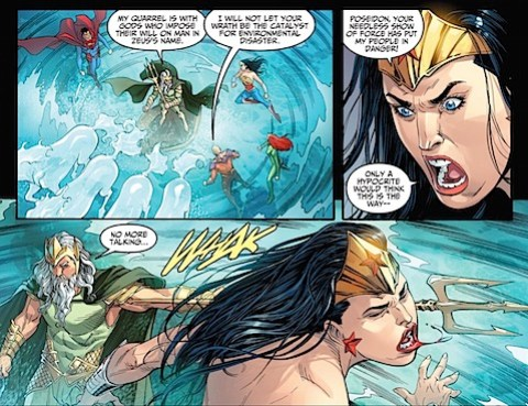 Poseidon twats Wonder Woman with his trident