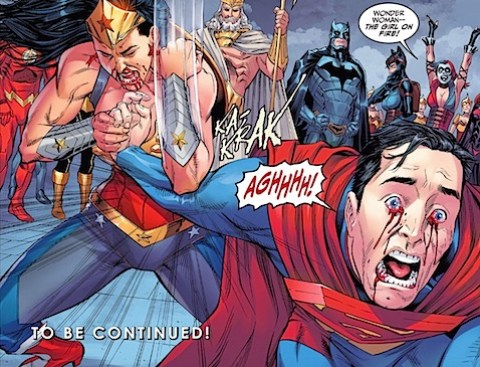 Wonder Woman breaks Superman's arm