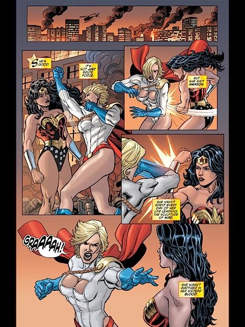 Wonder Woman beating up POwer Girl