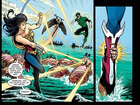 Aquaman attacks Wonder Woman