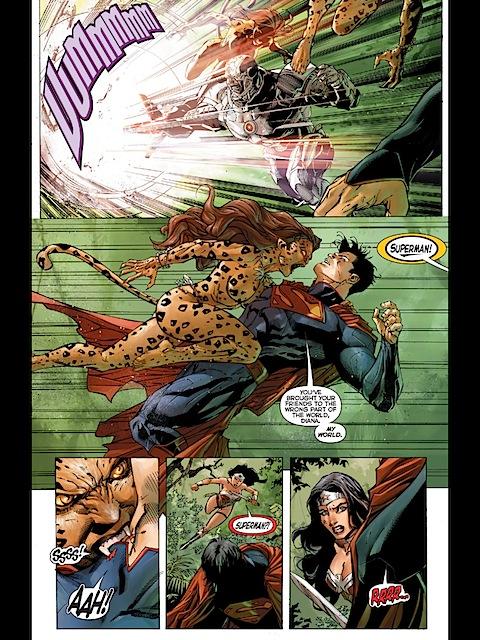 Cheetah bites Superman