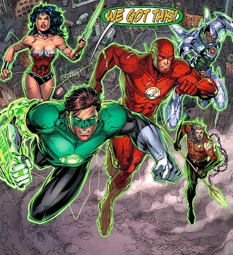 The Justice League fly