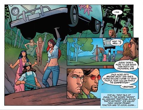 Wonder Woman picks up a van