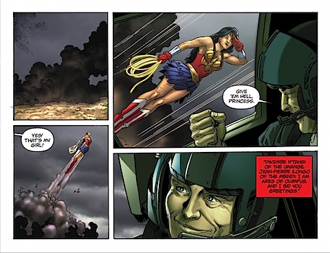 Wonder Woman's fly-by