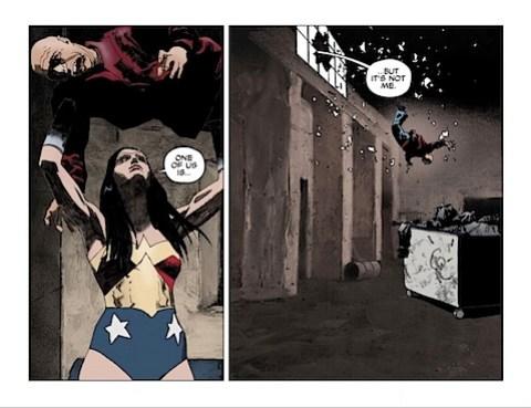 Wonder Woman throws a man out a window