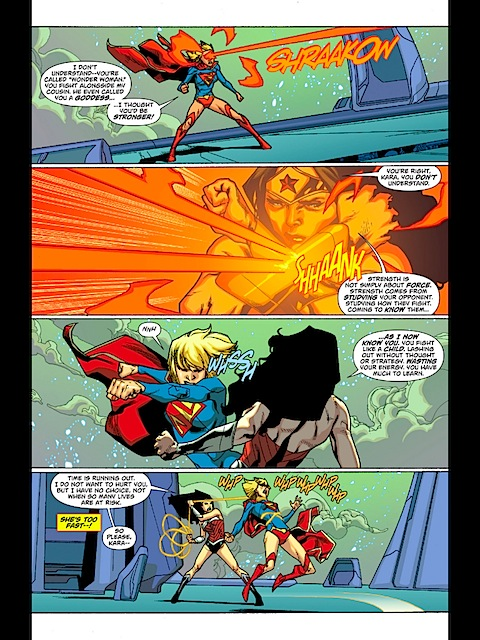 Supergirl and Wonder Woman fight