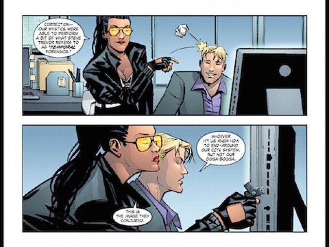 Wonder Woman throws paper at Steve Trevor
