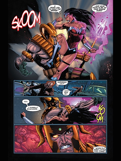 Wonder Woman and Magog fight
