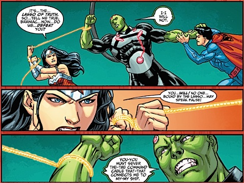 Wonder Woman compels Brainiac to tell the truth