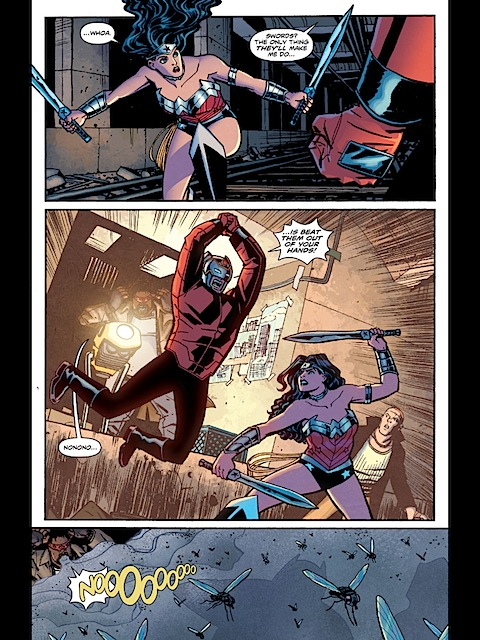 Wonder Woman and Orion fight
